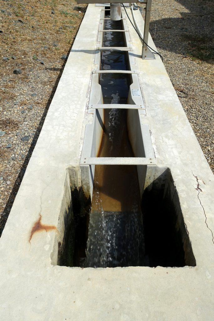 Canal de sortie de l'eau après traitement